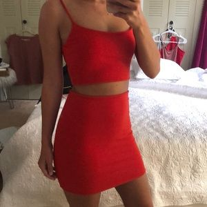 Dresses & Skirts - Red Two Piece Skirt Set